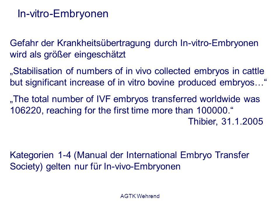 In-vitro-Embryonen Gefahr der Krankheitsübertragung durch In-vitro-Embryonen wird als größer eingeschätzt.