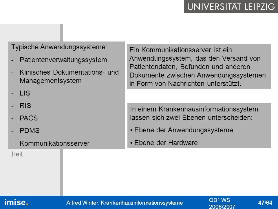 Typische Anwendungssysteme: Patientenverwaltungssystem