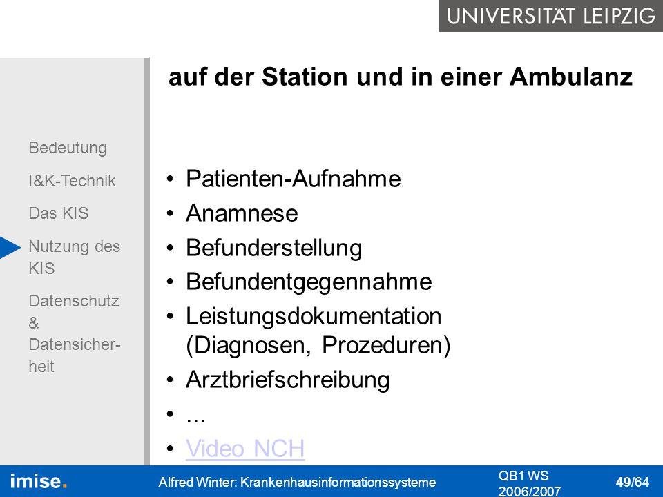 auf der Station und in einer Ambulanz