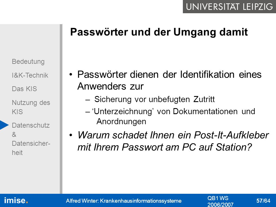 Passwörter und der Umgang damit