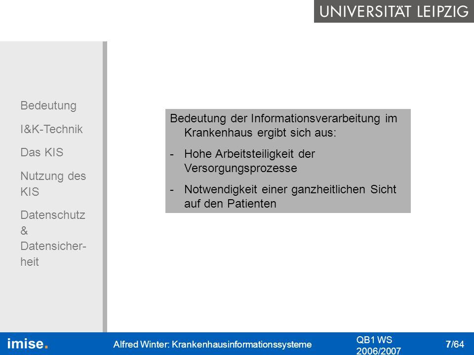 Bedeutung der Informationsverarbeitung im Krankenhaus ergibt sich aus: