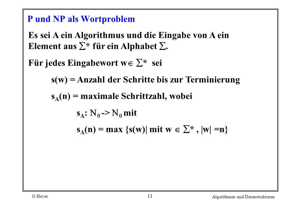 P und NP als Wortproblem