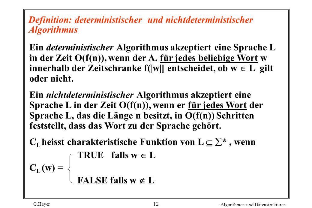 Definition: deterministischer und nichtdeterministischer Algorithmus