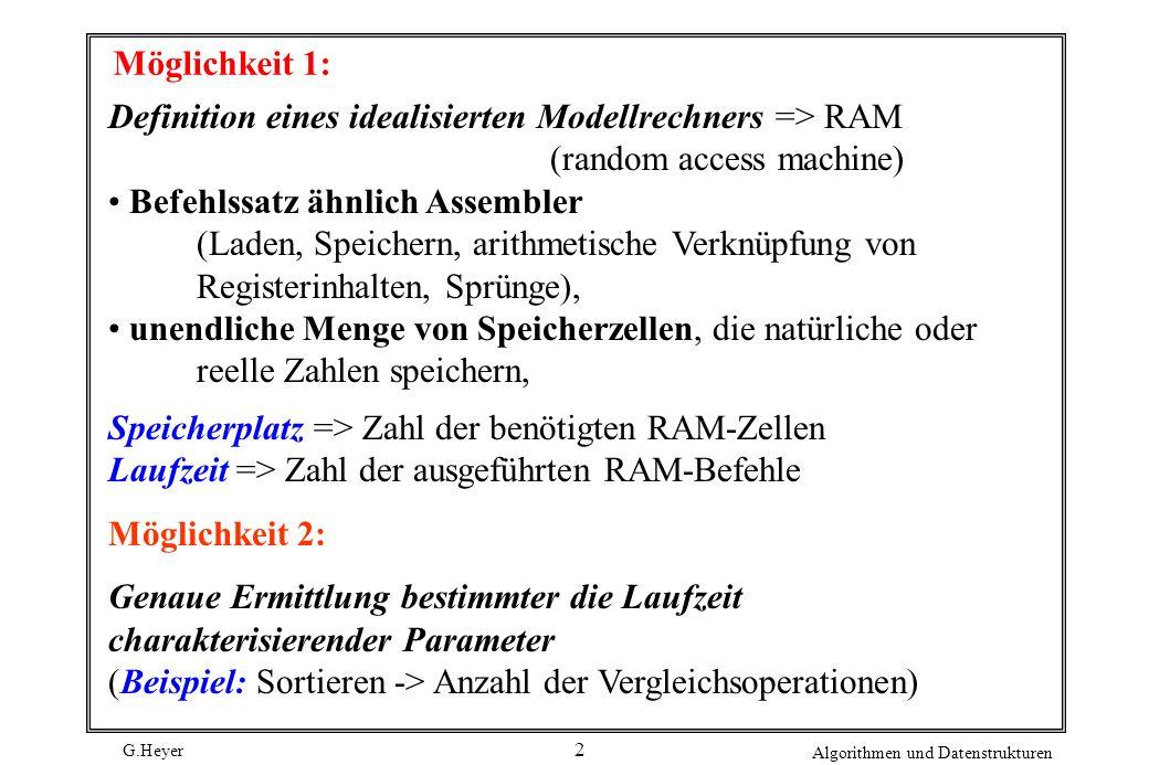 Möglichkeit 1: Definition eines idealisierten Modellrechners => RAM (random access machine) Befehlssatz ähnlich Assembler.