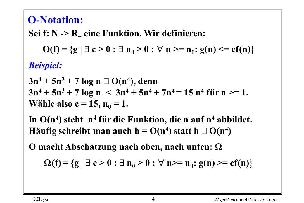 O-Notation: Sei f: N -> R+ eine Funktion. Wir definieren: