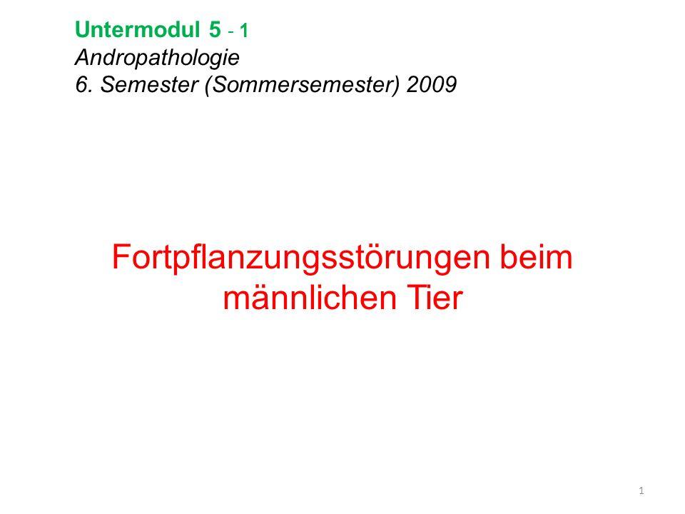 Untermodul 5 - 1 Andropathologie 6. Semester (Sommersemester) 2009