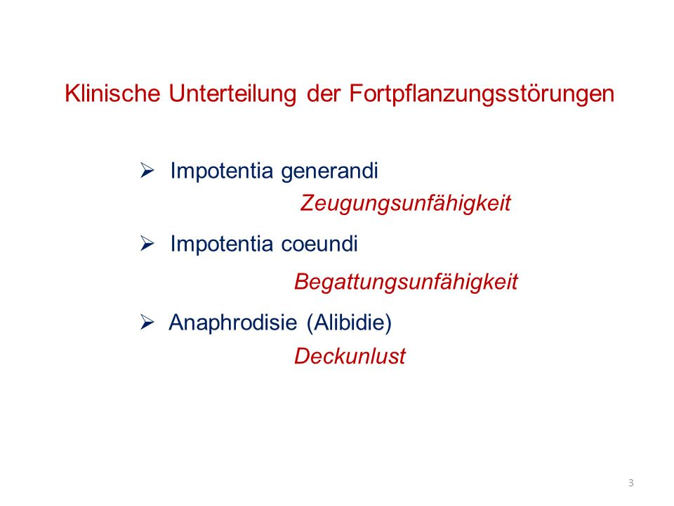Klinische Unterteilung der Fortpflanzungsstörungen