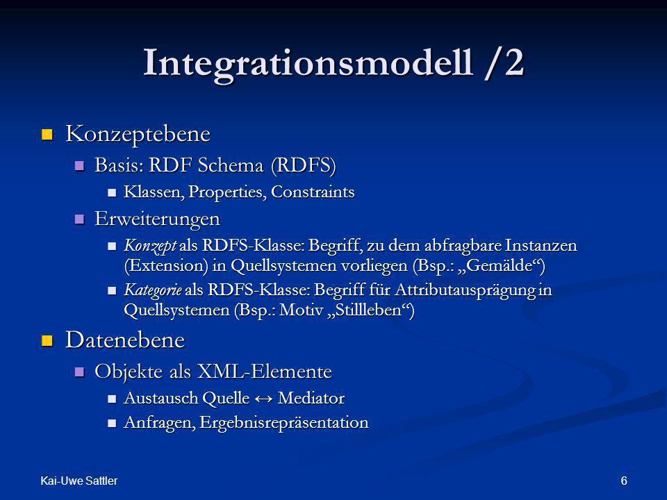 Integrationsmodell /2 Konzeptebene Datenebene Basis: RDF Schema (RDFS)