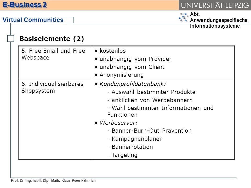 Virtual Communities Basiselemente (2) 5. Free Email und Free Webspace
