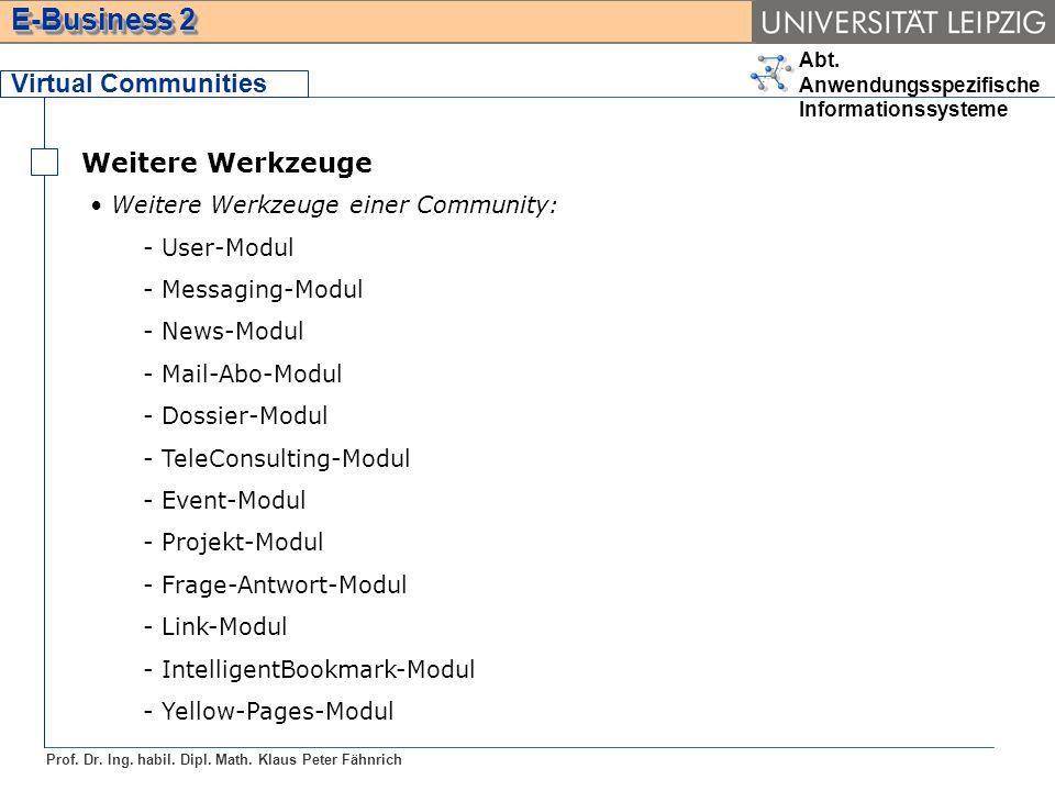 Virtual Communities Weitere Werkzeuge