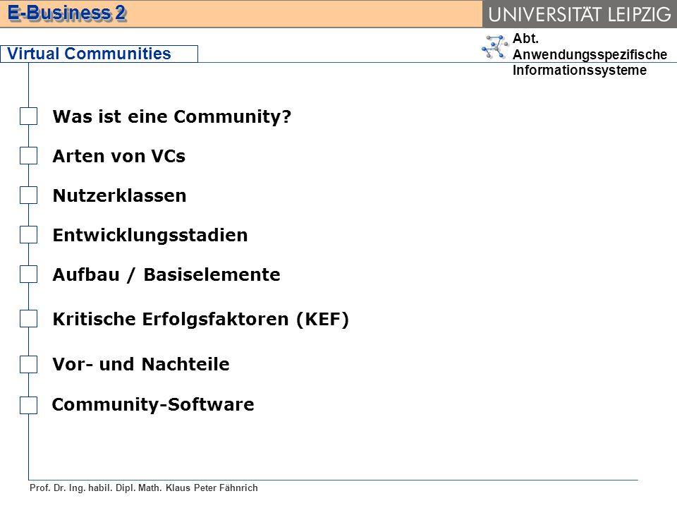 Virtual Communities Was ist eine Community Arten von VCs. Nutzerklassen. Entwicklungsstadien. Aufbau / Basiselemente.
