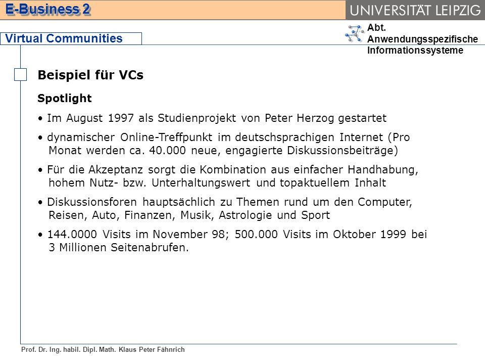 Virtual Communities Beispiel für VCs Spotlight