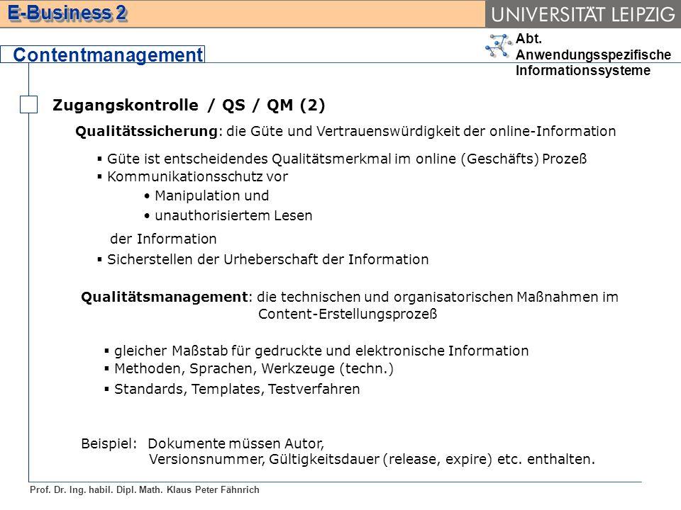 Contentmanagement Zugangskontrolle / QS / QM (2)