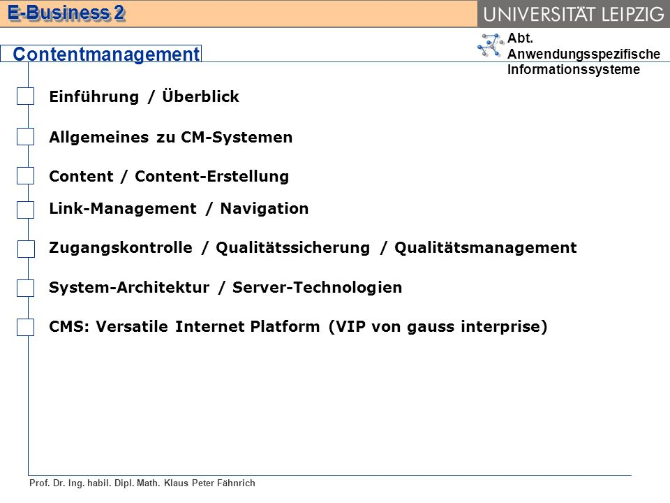Contentmanagement Einführung / Überblick Allgemeines zu CM-Systemen
