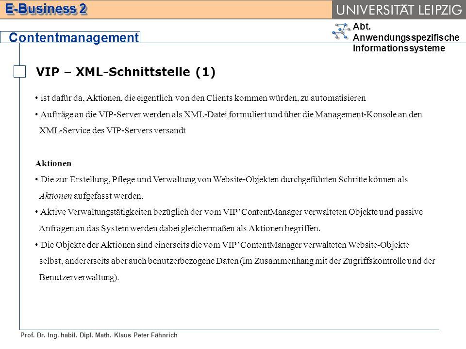 Contentmanagement VIP – XML-Schnittstelle (1)