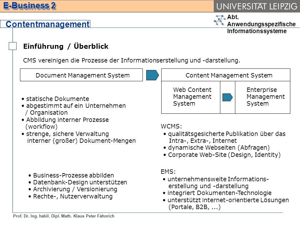 Contentmanagement Einführung / Überblick