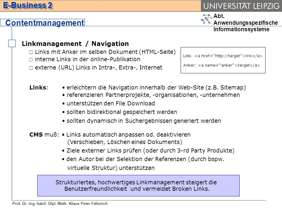Contentmanagement Linkmanagement / Navigation