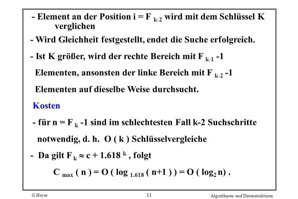 - Element an der Position i = F k-2 wird mit dem Schlüssel K