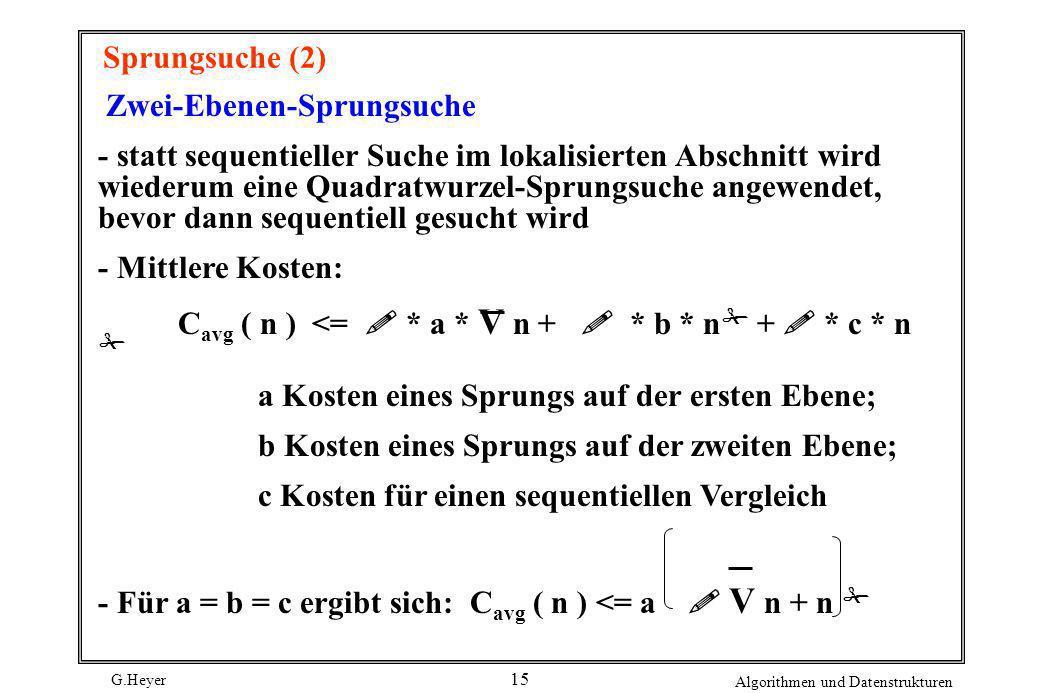 Sprungsuche (2) Zwei-Ebenen-Sprungsuche.