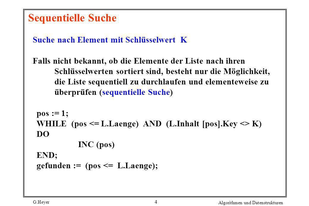 Sequentielle Suche Suche nach Element mit Schlüsselwert K