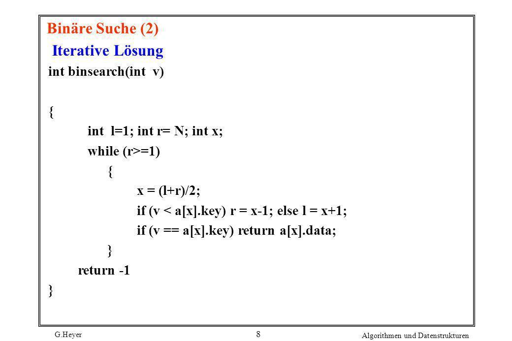 Binäre Suche (2) Iterative Lösung int binsearch(int v) {