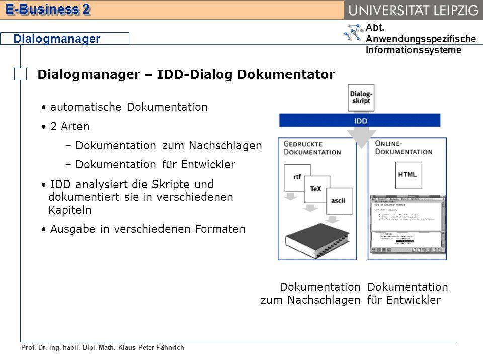 Dialogmanager – IDD-Dialog Dokumentator