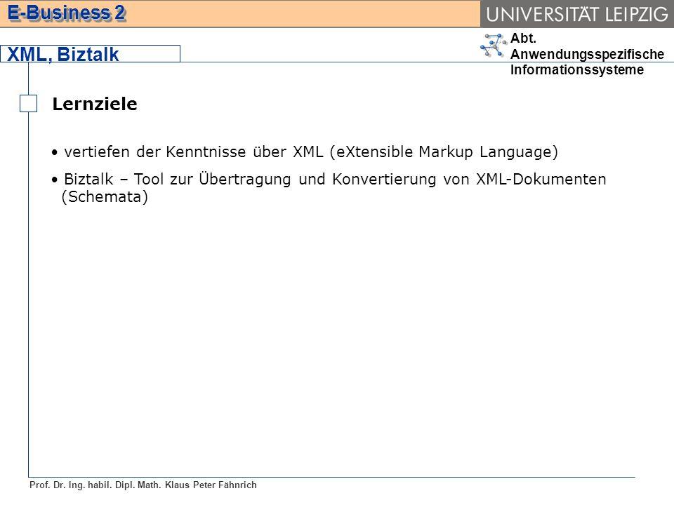 XML, Biztalk Lernziele. vertiefen der Kenntnisse über XML (eXtensible Markup Language)