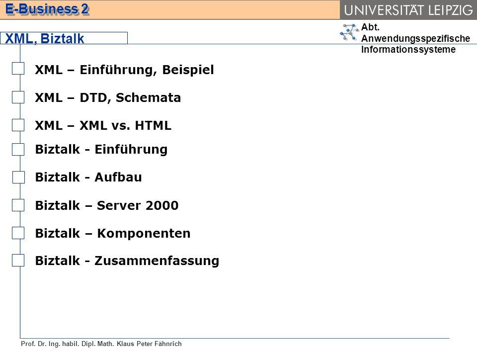 XML, Biztalk XML – Einführung, Beispiel XML – DTD, Schemata
