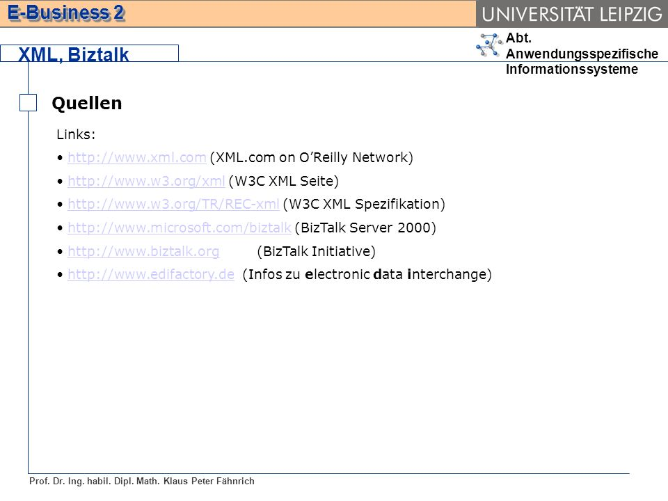 XML, Biztalk Quellen Links: