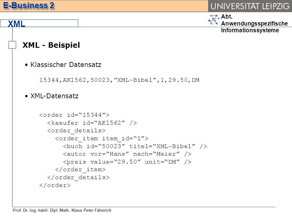 XML XML - Beispiel Klassischer Datensatz