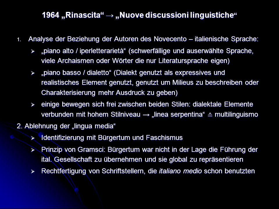 """1964 """"Rinascita → """"Nuove discussioni linguistiche"""