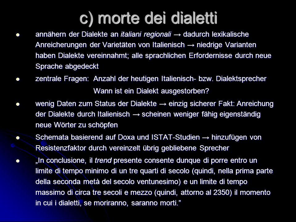 c) morte dei dialetti
