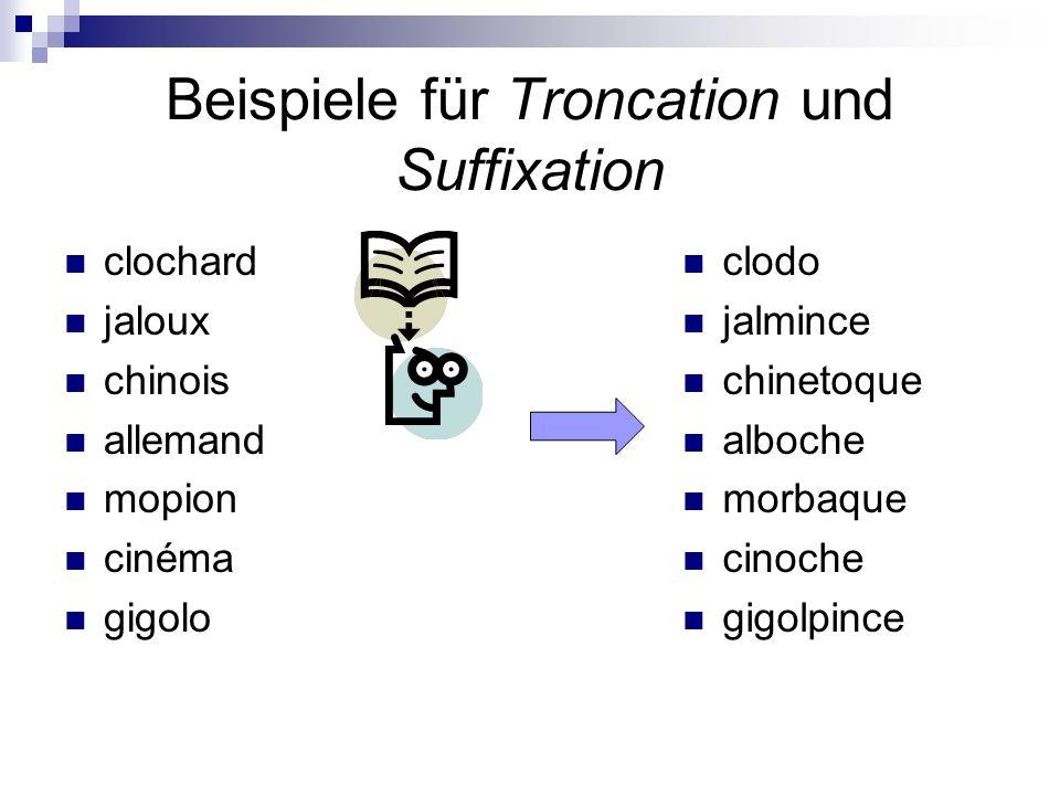 Beispiele für Troncation und Suffixation