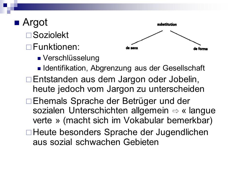Argot Soziolekt Funktionen: