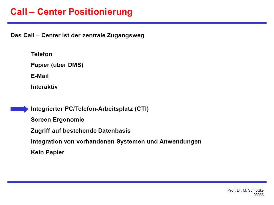 Call – Center Positionierung