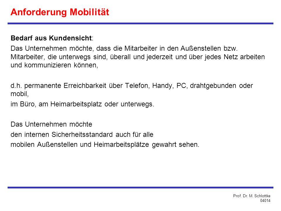 Anforderung Mobilität