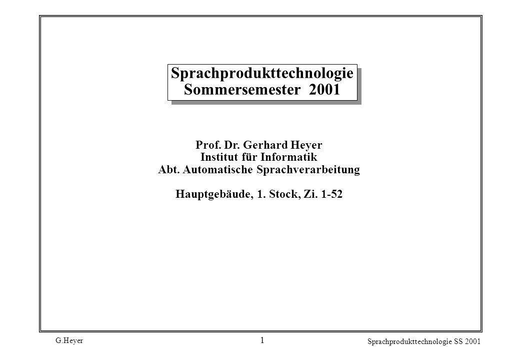 Sprachprodukttechnologie Sommersemester 2001