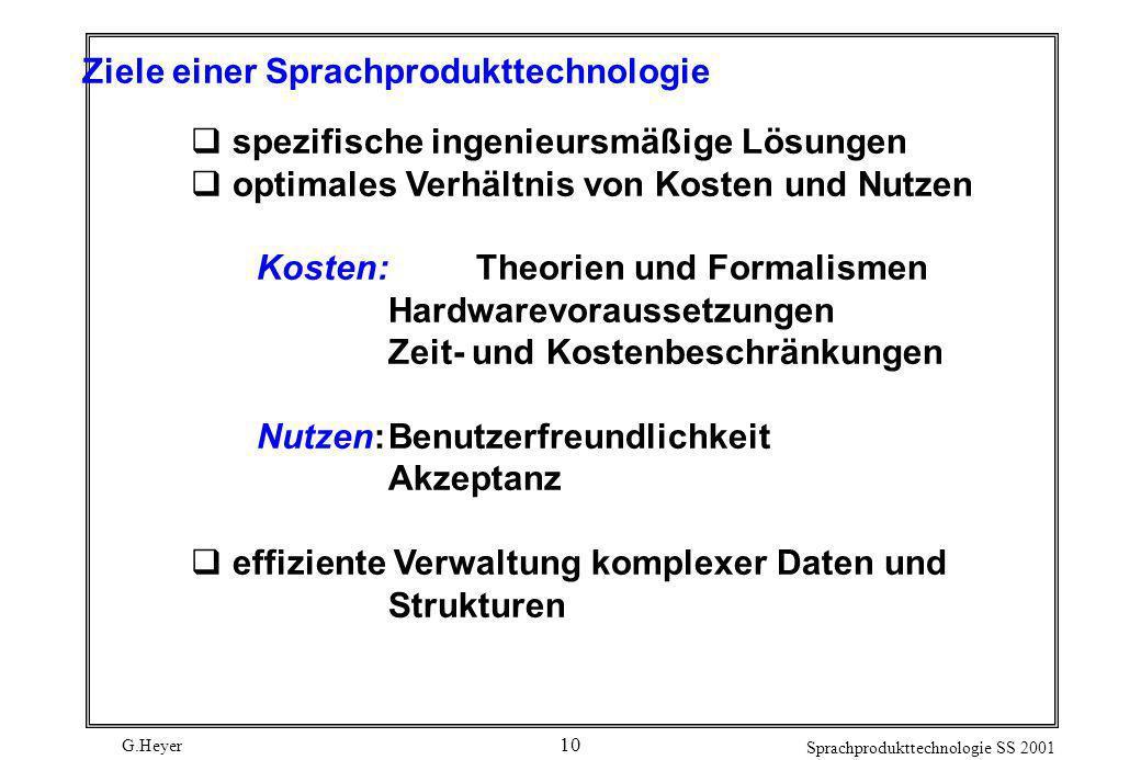 Ziele einer Sprachprodukttechnologie