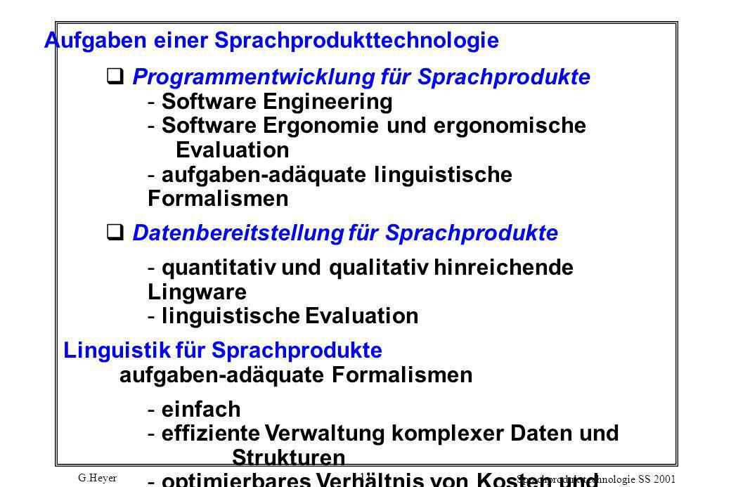Aufgaben einer Sprachprodukttechnologie