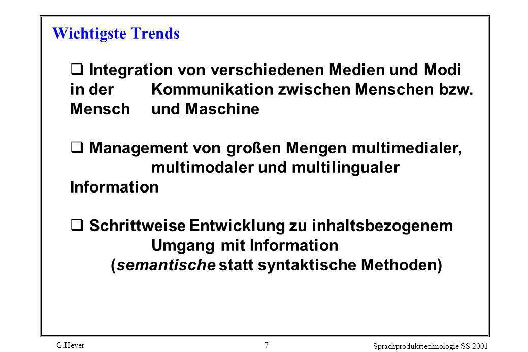 Wichtigste Trends Integration von verschiedenen Medien und Modi in der Kommunikation zwischen Menschen bzw. Mensch und Maschine.