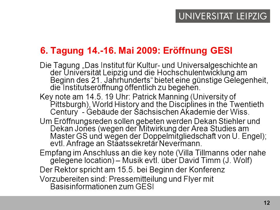 6. Tagung 14.-16. Mai 2009: Eröffnung GESI