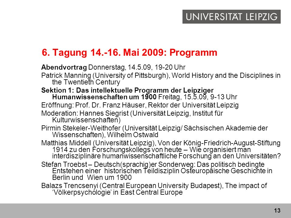 6. Tagung 14.-16. Mai 2009: Programm Abendvortrag Donnerstag, 14.5.09, 19-20 Uhr.