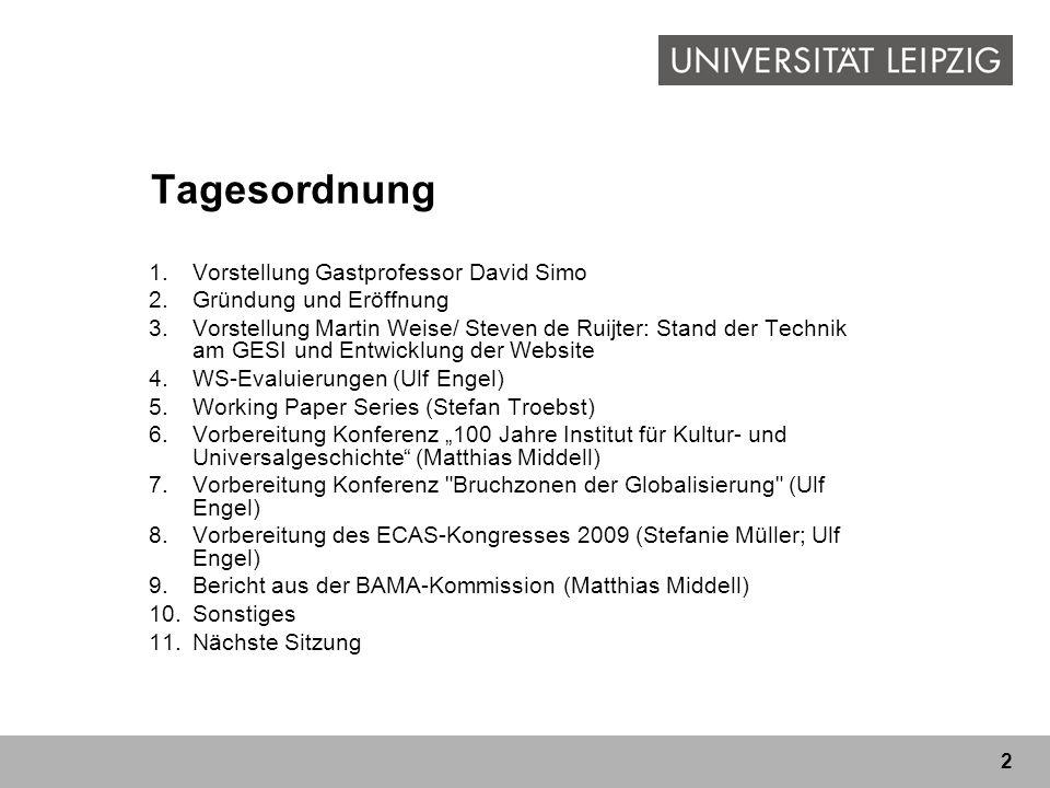 Tagesordnung Vorstellung Gastprofessor David Simo