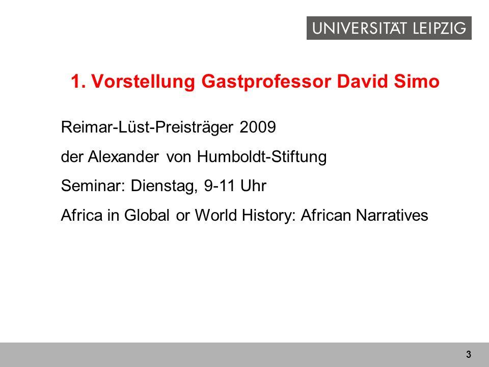 1. Vorstellung Gastprofessor David Simo