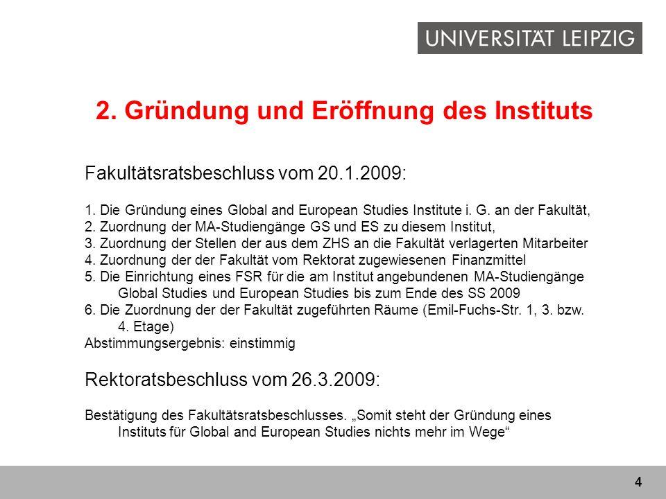 2. Gründung und Eröffnung des Instituts