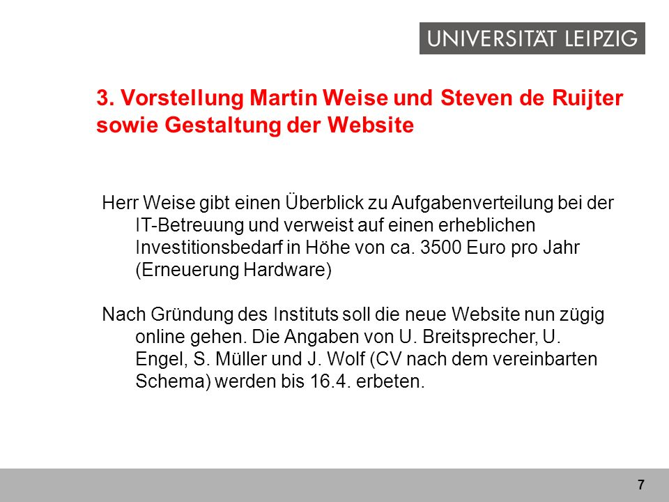 3. Vorstellung Martin Weise und Steven de Ruijter sowie Gestaltung der Website