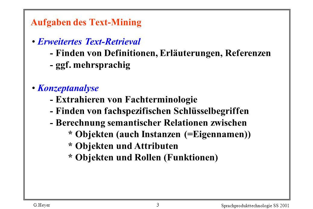Aufgaben des Text-Mining