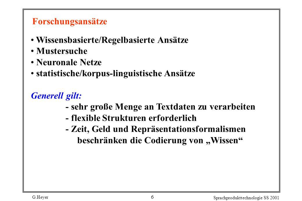 Forschungsansätze Wissensbasierte/Regelbasierte Ansätze. Mustersuche. Neuronale Netze. statistische/korpus-linguistische Ansätze.