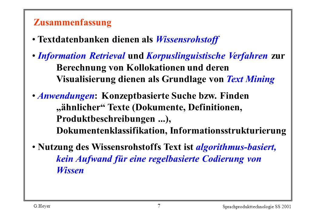 Zusammenfassung Textdatenbanken dienen als Wissensrohstoff.
