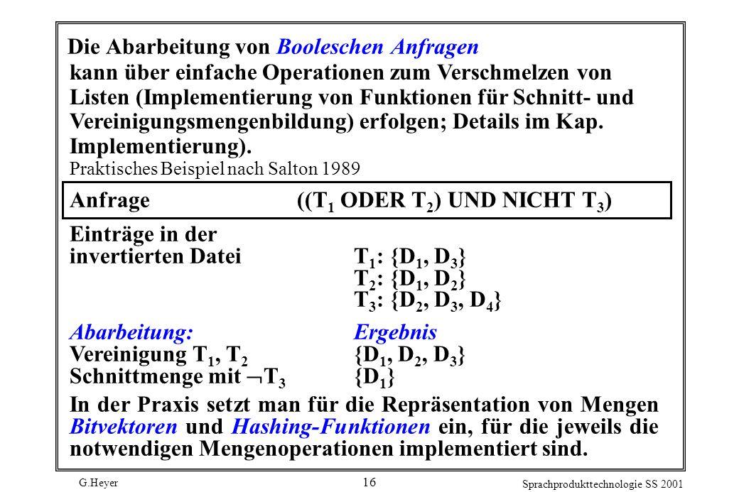 Die Abarbeitung von Booleschen Anfragen